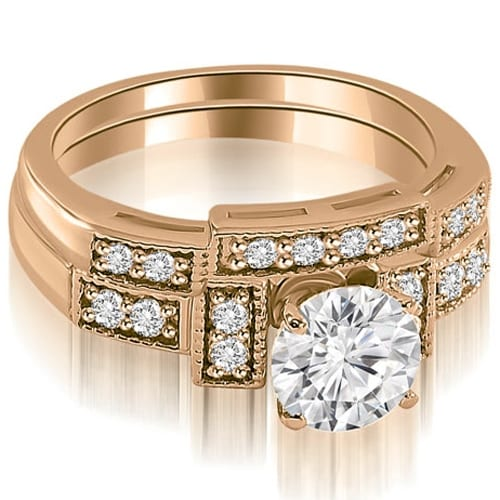 1.05 cttw. 14K Rose Gold Antique Milgrain Round Diamond Bridal Set