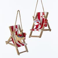 """Pack of 12 Red and White Beach Chairs with Starfish and Beach Ball Christmas Ornaments 2.75"""""""