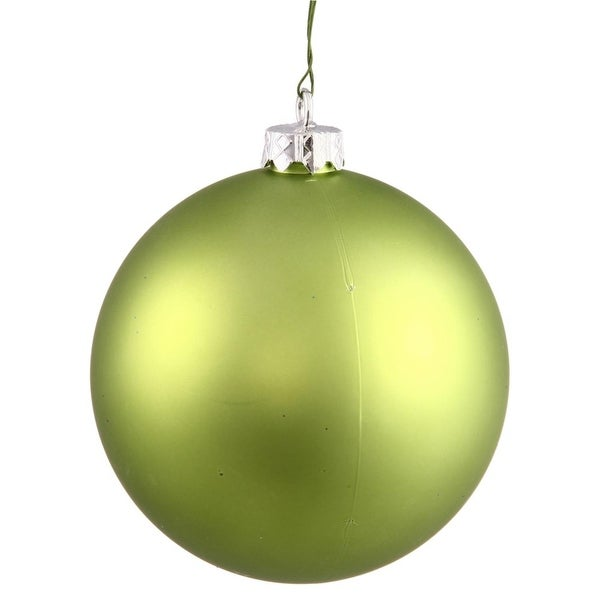 "Matte Lime UV Resistant Commercial Drilled Shatterproof Christmas Ball Ornament 8"" (200mm) - green"