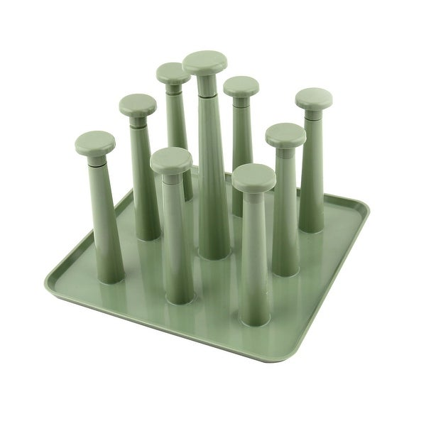 Home Plastic Coffee Juice Drinking Cup Organizer Drying Drain Rack Holder Green