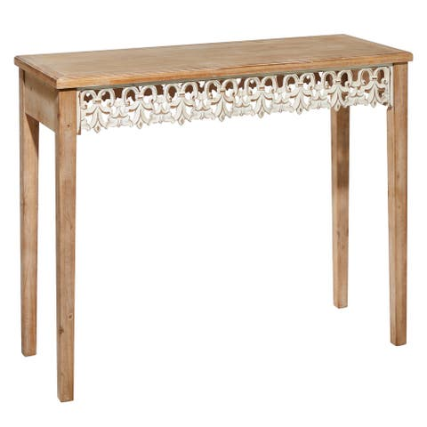 """Country Cottage Wood Console Table with Carved Apron 39.5"""" x 32""""H - 40 x 16 x 32"""