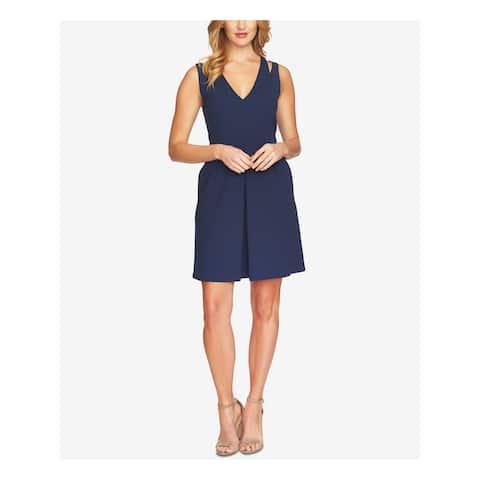 CECE Womens Navy Pleated Sleeveless V Neck Mini Dress Size 10
