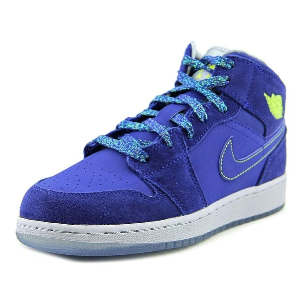Nike Air Jordan 1 Mid Youth Round Toe Leather Blue Sneakers