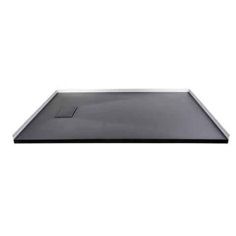 Transolid FZS6036-09 60-in L x 35.5-in W Zero Threshold End Drain Shower Base, Black - 60-in L x 35.5-in W
