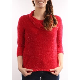 Womens Red 3/4 Sleeve Turtle Neck Casual Sweater Size S