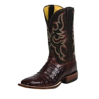 Justin Western Boots Mens Leather Wide Square Caiman Cognac 9616