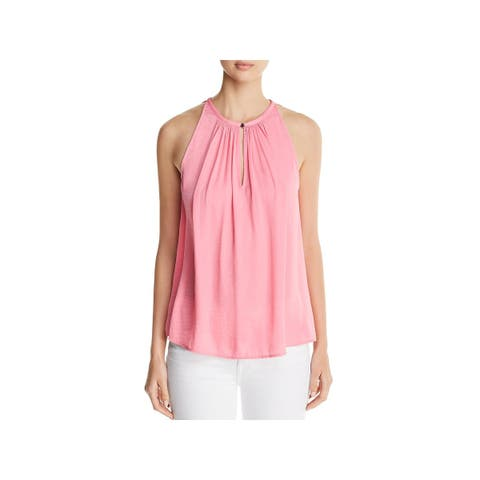 Vince Camuto Womens Amalfi Breeze Blouse Satin Shirred