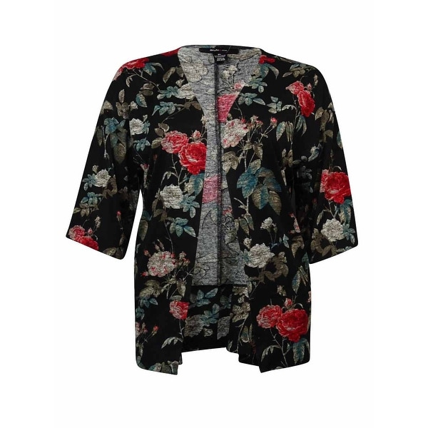 Style & Co Women's Flowery Print Open Front Cardigan - fall floral