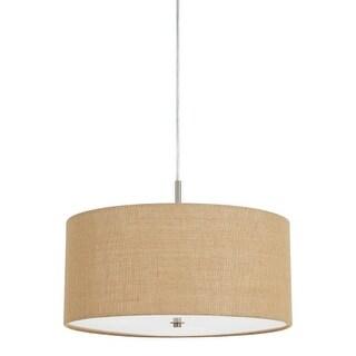 "Cal Lighting FX-3627-1P Addison 3 Light 18"" Wide Single Pendant With Brown Fabri - Burlap"