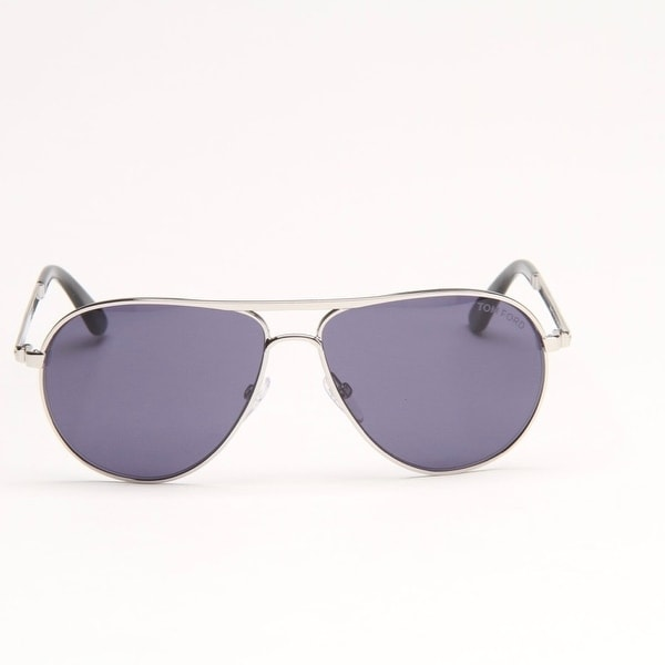 Marko Silver Metal Aviator Sunglasses With Blue Lens