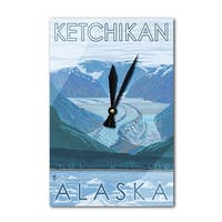 Glacier Scene - Ketchikan, Alaska - LP Artwork (Acrylic Wall Clock) - acrylic wall clock