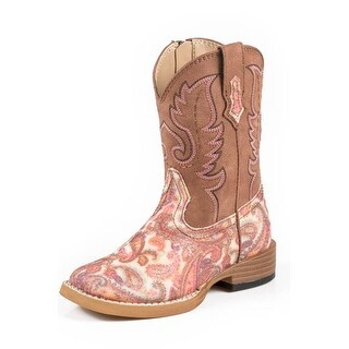 Roper Western Boots Girls Kids Glitter Brown