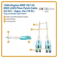 Tripp Lite N820-03M 10Gb Duplex Multimode 50/125 Om3 Lszh Fiber Patch Cable, Aqua
