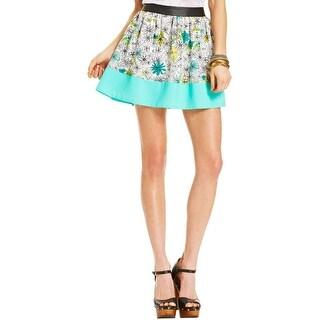 Eric & Lani Womens Mini Skirt Floral Print Faux Leather Trim Multi L