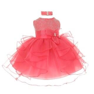 Baby Girls Coral Organza Rhine studs Bow Sash Flower Girl Dress 6-24M
