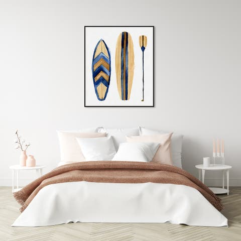 Oliver Gal 'Paddle Up' Nautical and Coastal Wall Art Framed Canvas Print Nautical Sports - Blue, Brown