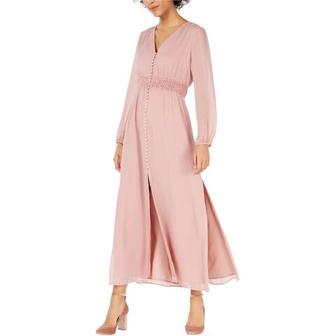 bar III Womens Smocked-Waist Maxi Dress, pink, Small