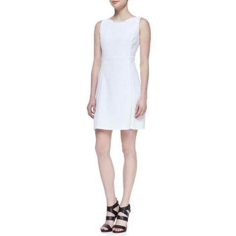 T TAHARI Womens Maylin White Sleeveless Sheath Dress