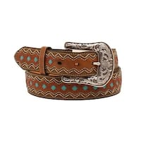 Ariat Western Belt Womens Zig Zag Diamond Brown Turquoise
