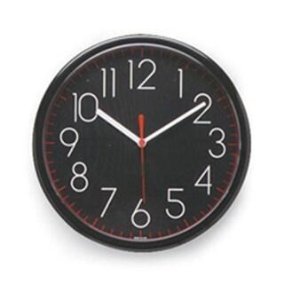 Lorell Wall Clock- 10in.- Arabic Numerals- Black Frame-Black Face