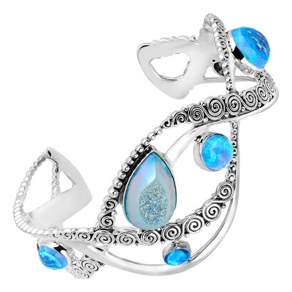 Sajen Natural Pariba Druzy & Blue Opal Doublet Cuff Bracelet in Sterling Silver