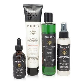 PHILIP B Four Step Hair and Scalp Treatment Set with Paraben Free Formula Conditioner, 2 fl. oz.