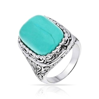 Bling Jewelry Filigree Reconstituted Turquoise Cocktail Ring Sterling Silver - Blue
