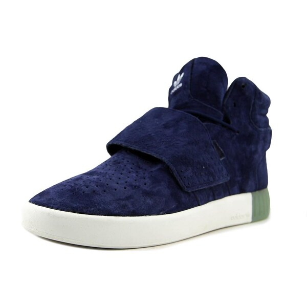 Adidas Tubular Invader Strap Men Round Toe Suede Blue Sneakers
