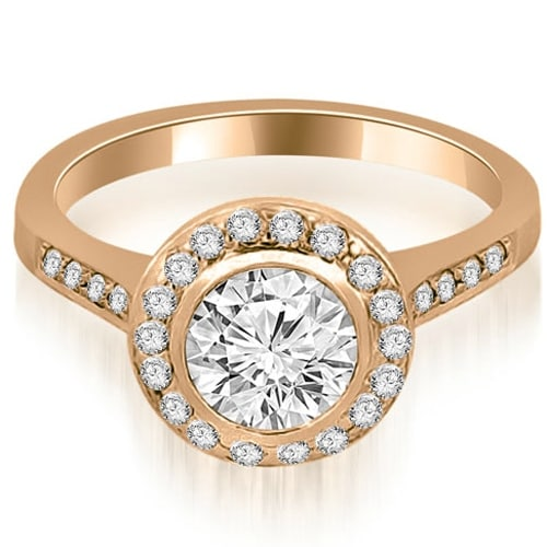 1.10 cttw. 14K Rose Gold Bezel Center Round Cut Diamond Engagement Ring