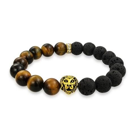 Bling Jewelry Tiger Eye Beads Gold Plated Lion Lava Rock Energy Bracelet