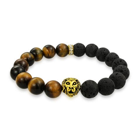Bling Jewelry Tiger Eye Beads Gold Plated Lion Lava Rock Energy Bracelet