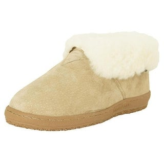 Old Friend Slippers Womens Sheepskin Ankle Bootee Wide Chestnut 441223