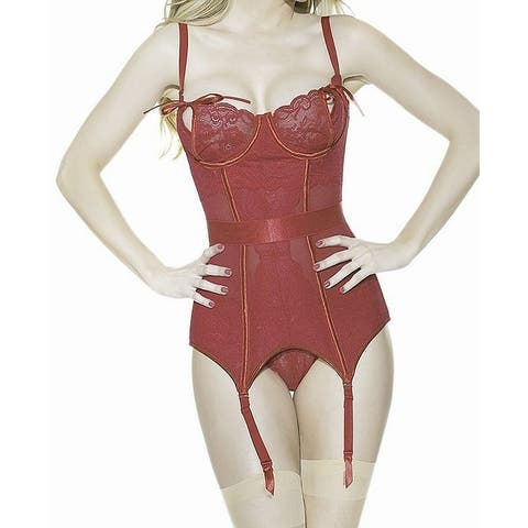 Coquette Womens Corset Red Size Large L Hook & Eye Underwire Boned Lace