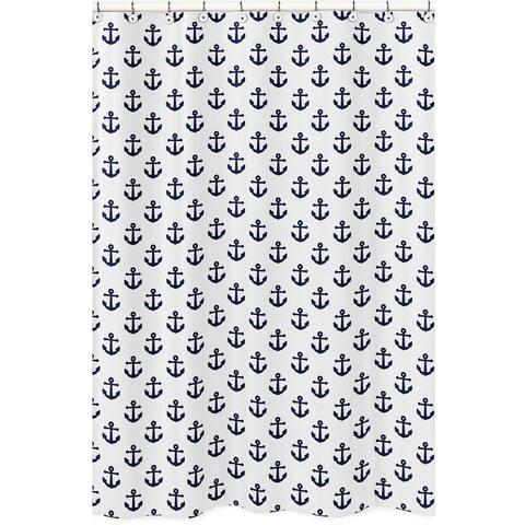 Navy Blue White Anchors Bathroom Fabric Bath Shower Curtain - Nautical Ocean Sailboat Sea Sailor Anchor Unisex Gender Neutral
