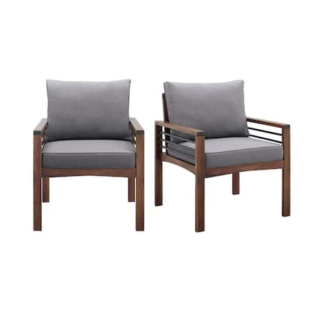 Havenside Home Acacia and Metal Outdoor Chair with Cushions (Set of 2)