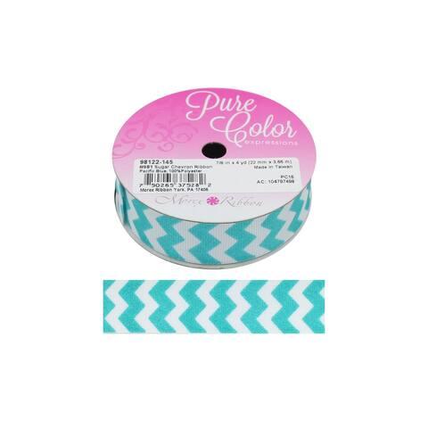 """Morex Ribbon Sugar Chevron 7/8""""x 4yd Pacific Blue"""