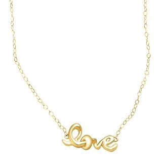 Just Gold Teeny Tiny 'Love' Script Necklace in 14K Gold - Yellow