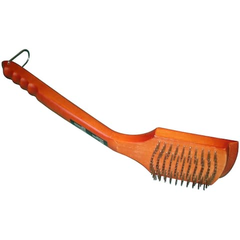 """18.5"""" Orange and Silver Stainless Steel Grid Brush"""