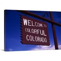 Premium Thick-Wrap Canvas entitled Colorado Road Sign - Multi-color