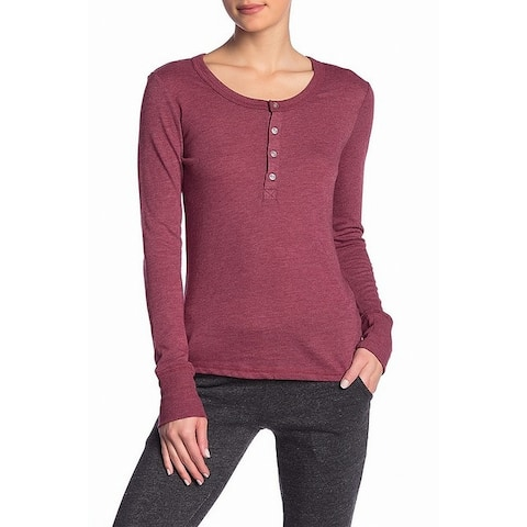 Alternative Red Womens Size Large L Henly Long Sleeve Knit Top