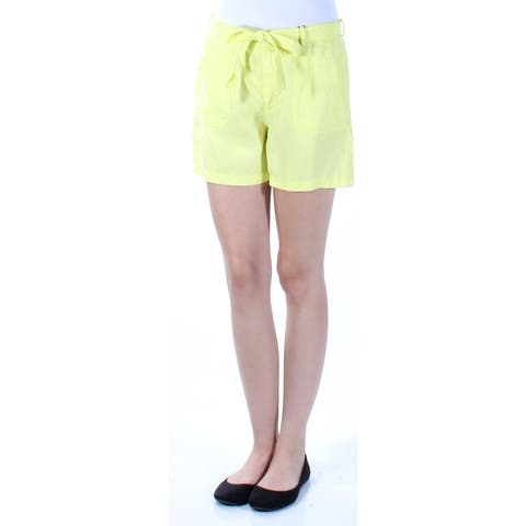 KIIND OF Womens Yellow Belted Short Size: 2