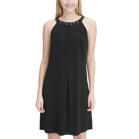 Calvin Klein Womens Grommet Laced-Neck Halter Dress Small Black