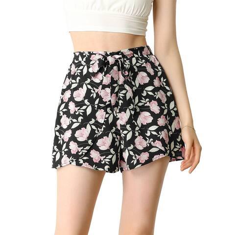 Allegra K Women's Tie Waist Summer Beach Floral Shorts - Black-Pink Floral