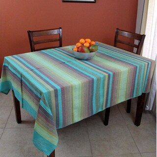 Striped Cotton Tablecloth Rectangular Lightweight Bedspread - Green, Brown, Red, Tan, Sage 60 x 90 inches, Full 85 x 100 inches