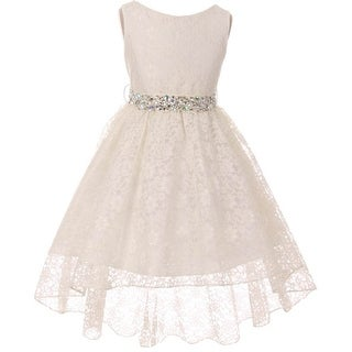 BNY Corner Flower Girl Dress Lace Hi-Low with Rhinestone Belt Ivory