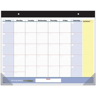"- At-A-Glance Quicknotes Undated Monthly Desk Pad 22""X17"""