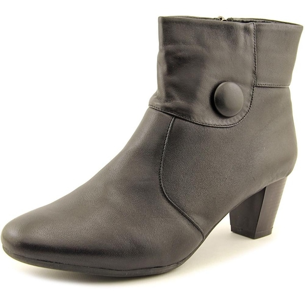 Spring Step Ariella Women Round Toe Leather Black Ankle Boot