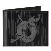 Rayquaza Pose Black Gray Canvas Bi Fold Wallet One Size - One Size Fits most