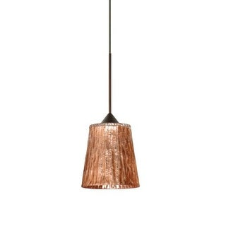 Besa Lighting 1XT-5125CF-LED Nico 1 Light LED Cord-Hung Mini Pendant with Stone Copper Foil Glass Shade