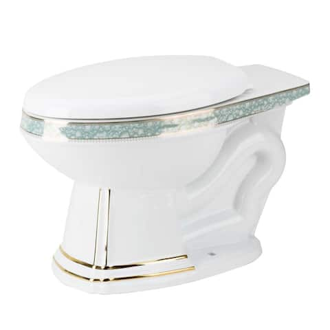 Renovator's Supply Sheffield Elongated Entry Bowl White/Gold/Blue Toilet Part